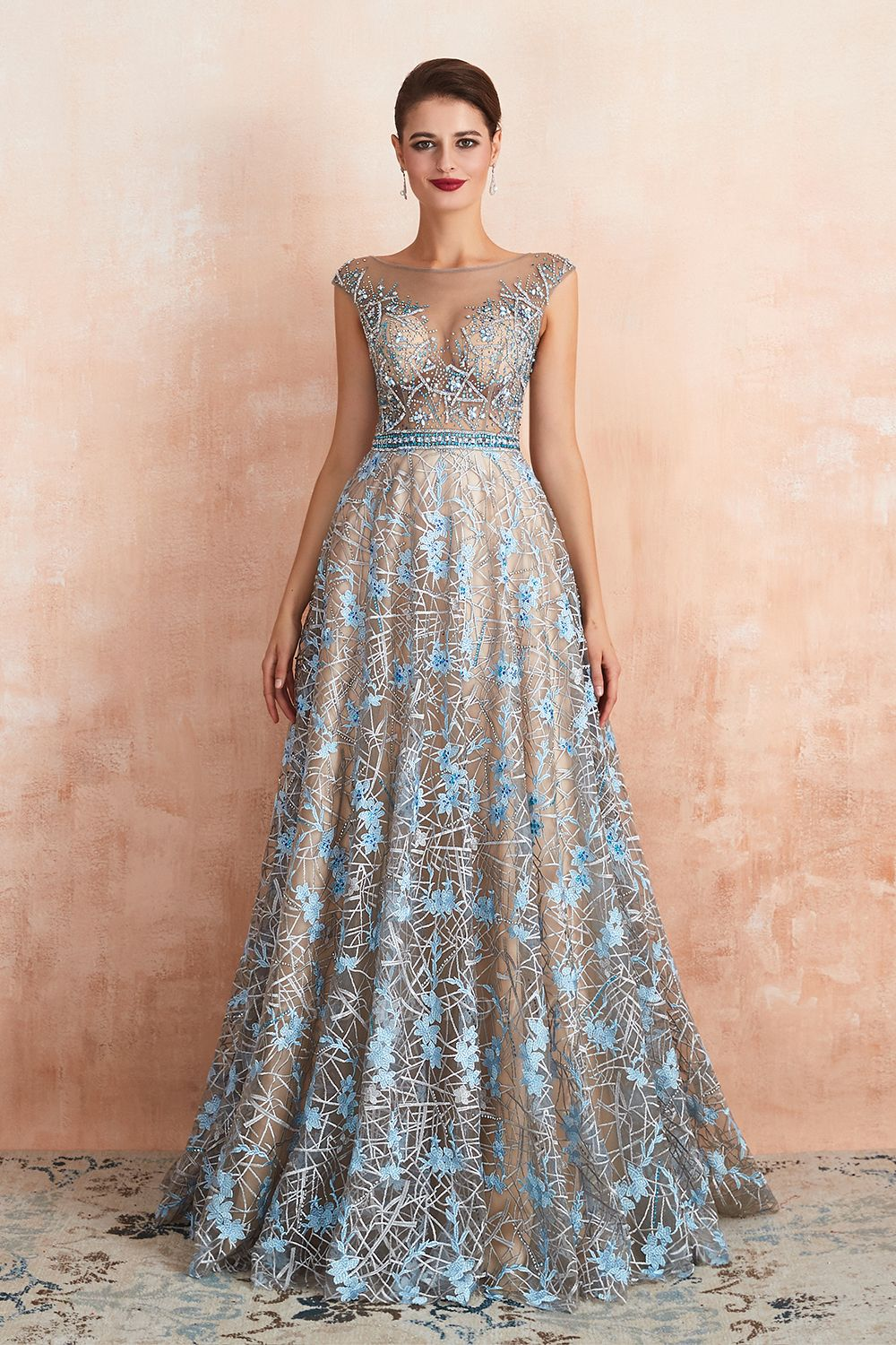 Bateau Cap Sleeves Belted Sexy Long Lace Prom Dresses | Gorgeous Lace Evening Dresses