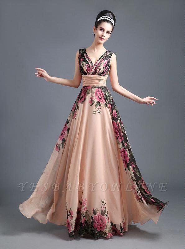 A-Line Chiffon Printed Ruffles Evening Dress On Sale