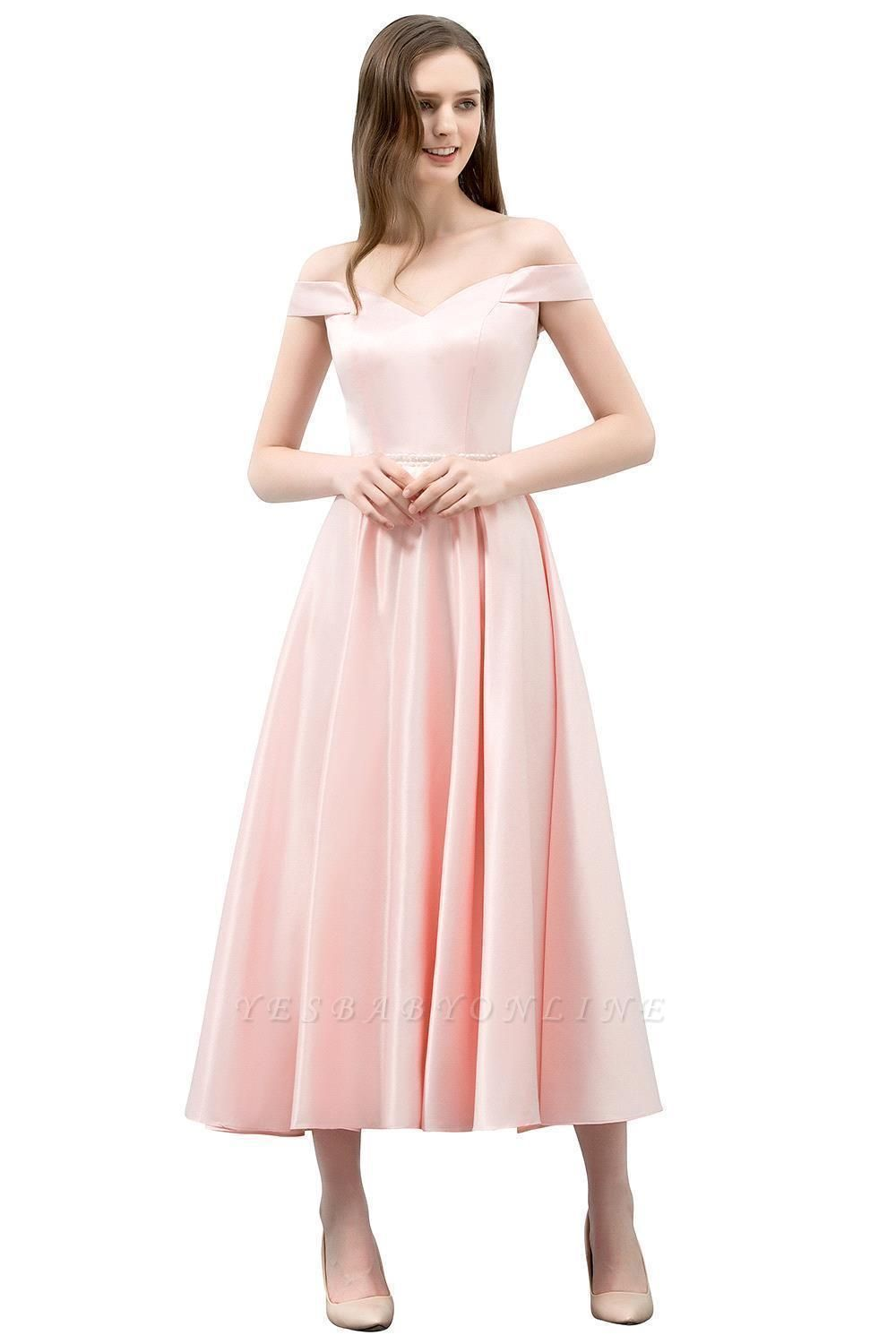 Cheap A-line Off-shoulder Tea Length Pink Prom Dress with Sash in Stock