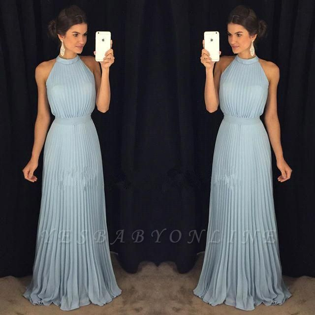 2019 Gorgeous Sleeveless Halter Neck Blue Pleats Long Evening Dress