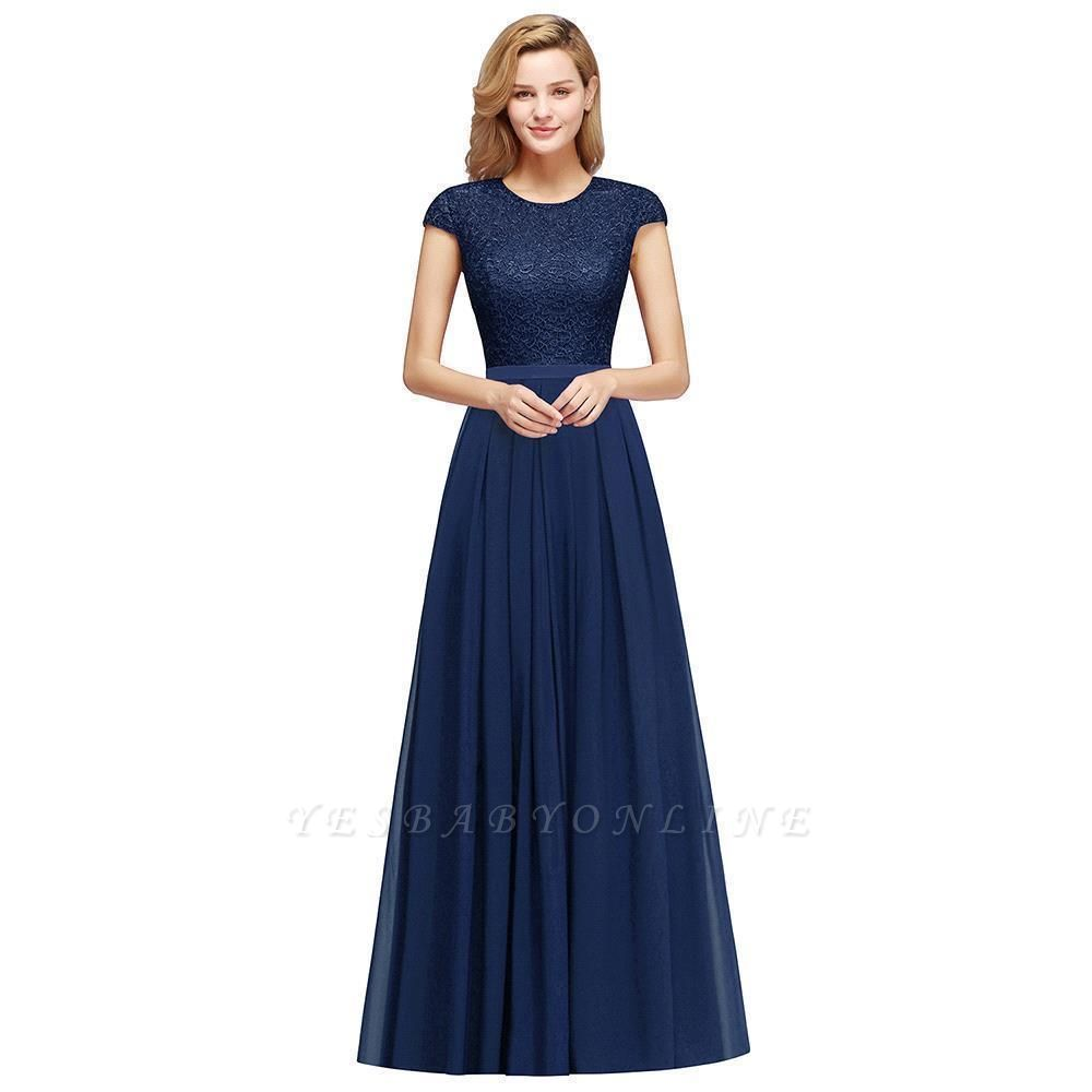 Cap Sleeves Floor Length Jewel Lace Chiffon Bridesmaid Dress | Cheap Prom Dresses