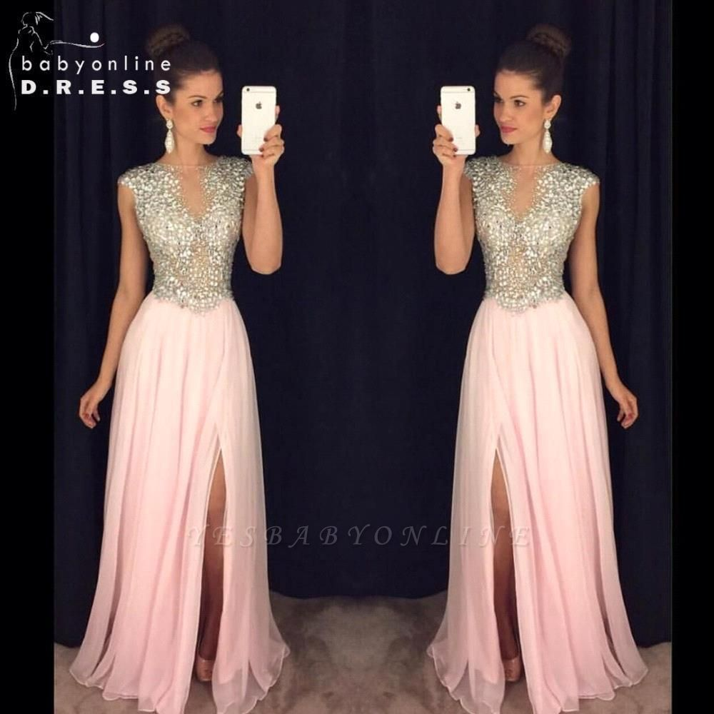 2019 Long Front-Slit Pink Beaded A-line Crystals luxury Prom Dresses