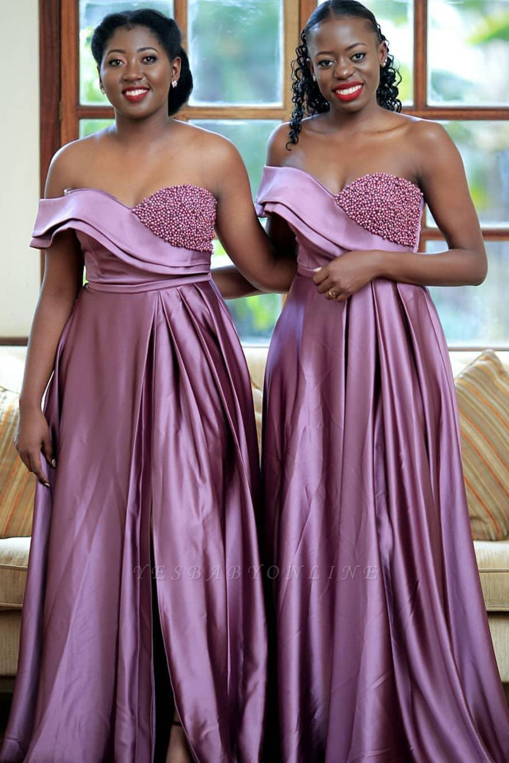 Off the Shoulder Front Slit Long Cheap Bridesmaid Dresses | Sexy Maid of Honor Dresses