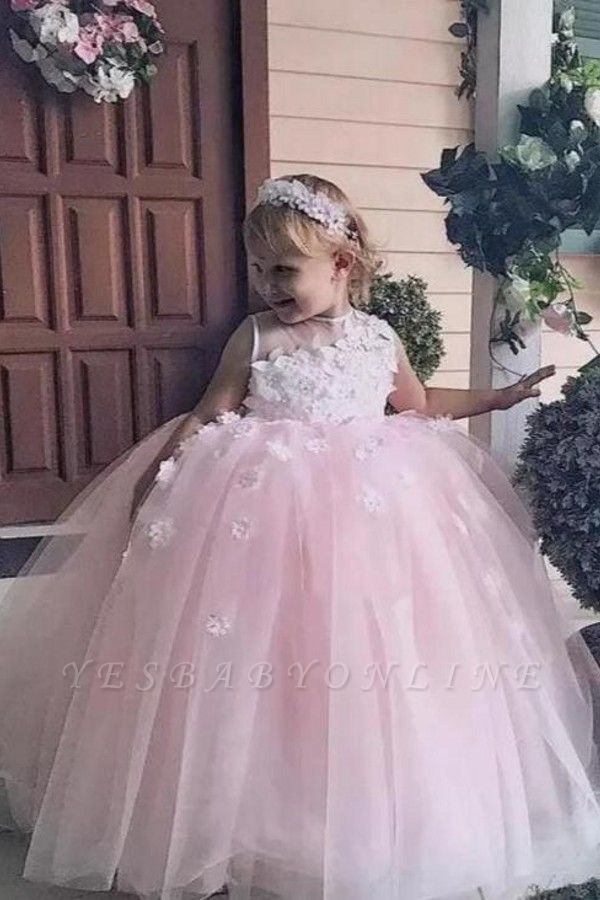 Jewel Sleeveless Tulle Ball Gown Flower Girl Dresses | Kids Dresses for Wedding