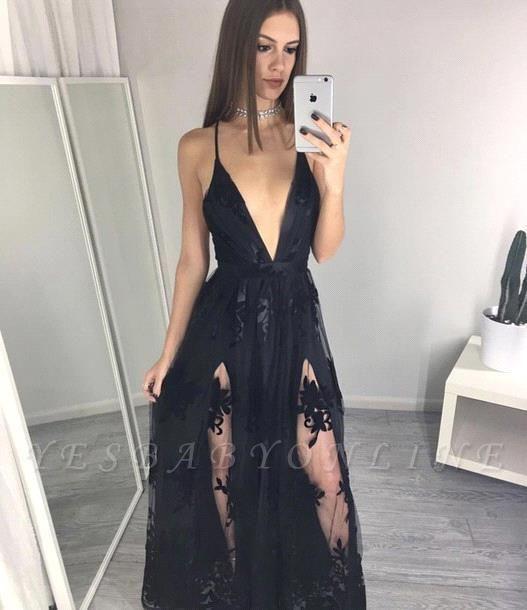 Black Spaghettis Straps Prom Dresses Side Slits Appliques A-line Party Dresses