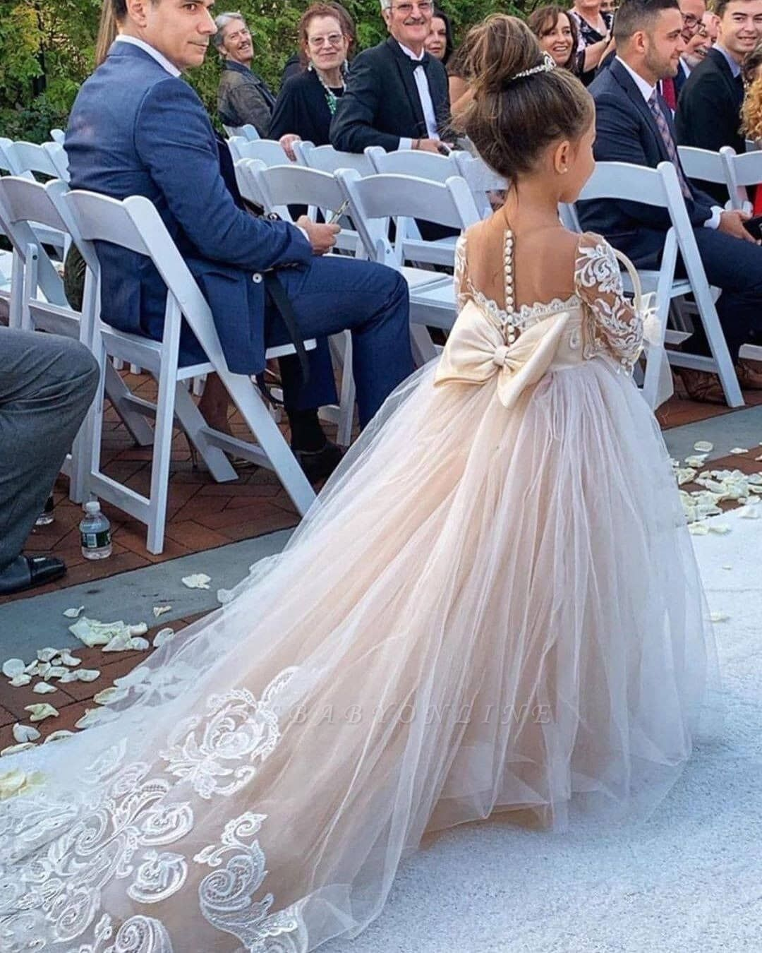 Princess Jewel Long Sleeves Sweep Train Lace Tulle Flower Girl Dresses With Bowknot Yesbabyonline Com