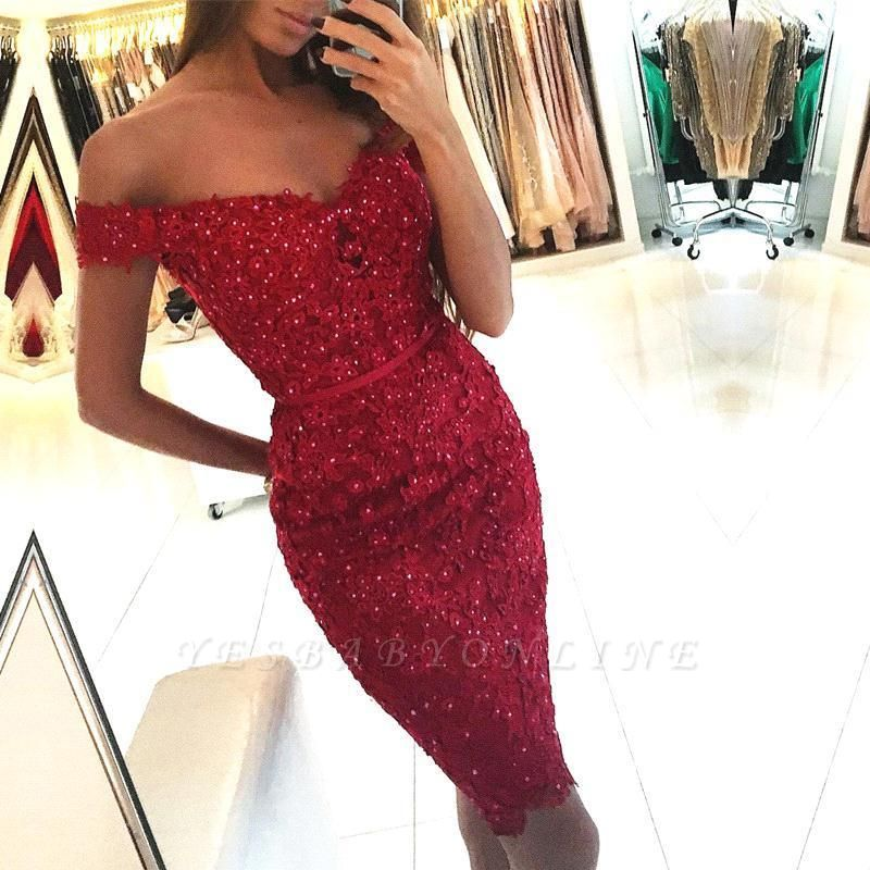 2019 Red Sheath Homecoming Dresses Off-the-Shoulder Appliques Beadings Graduation Dresses