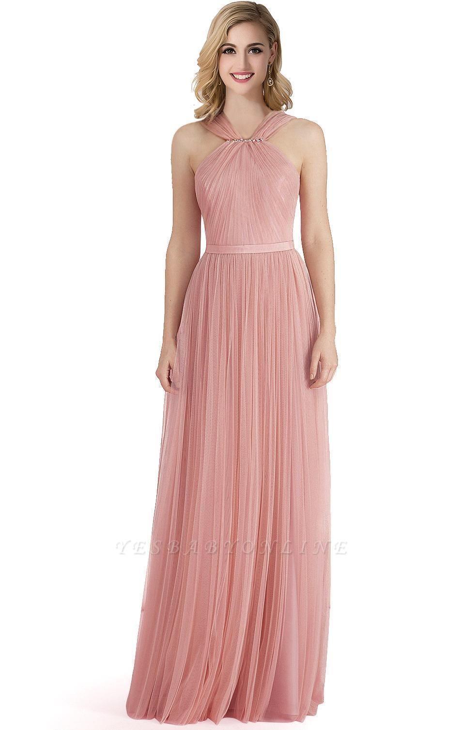 Cheap Sheath Pink Tulle Ribbon Sash Simple Bridesmaid Dress in Stock