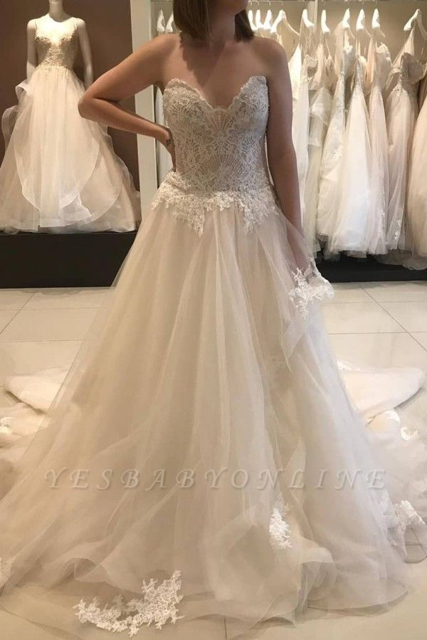 Strapless Sweetheart A-line Lace Tulle Wedding Dresses | Gorgeous Bridal Gown