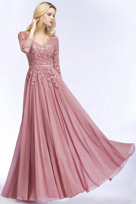 Elegant Chiffon Lace Dusty Rose Evening Dress