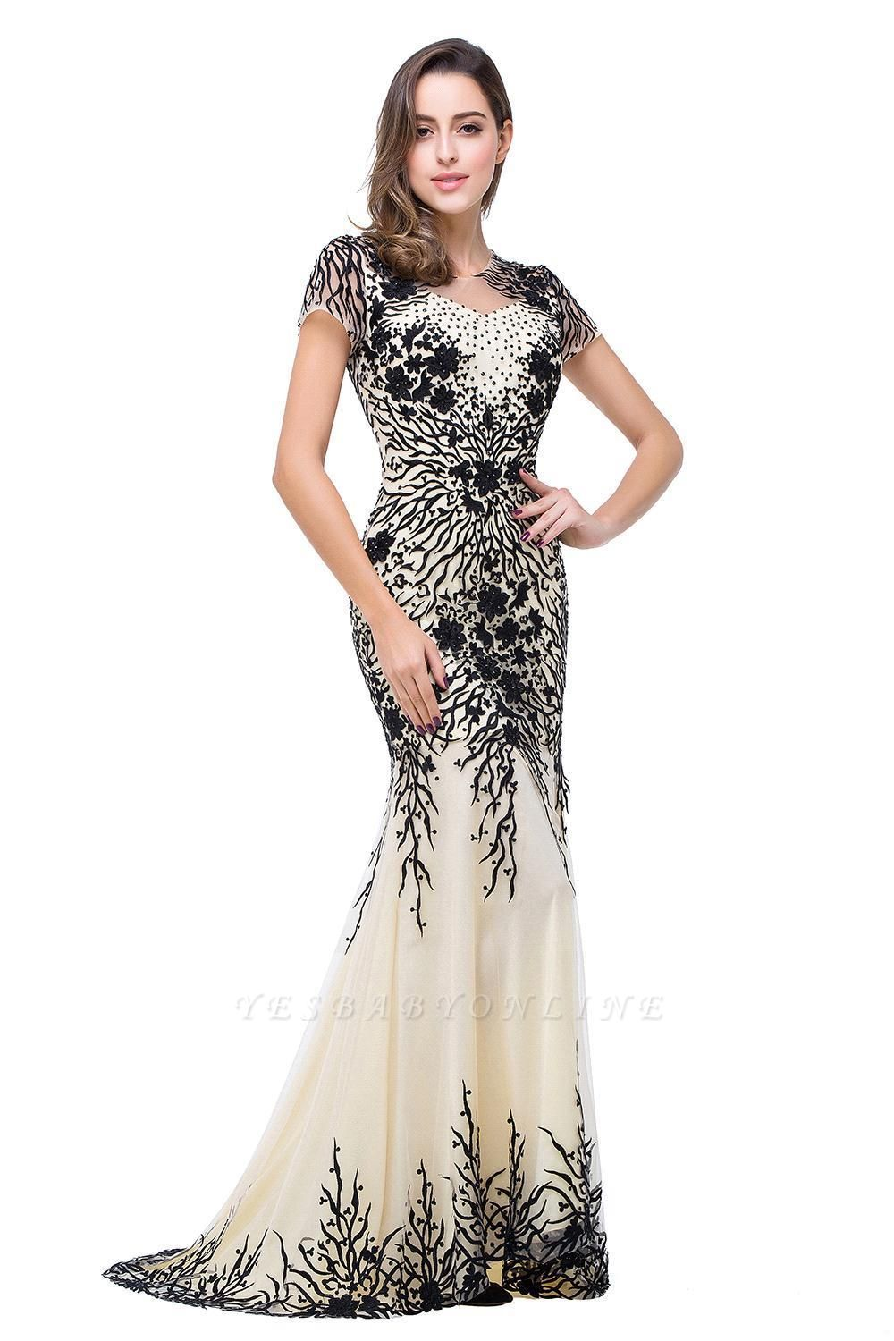 Elegant  Mermaid Short-Sleeves Appliques Prom Dress with Zipper