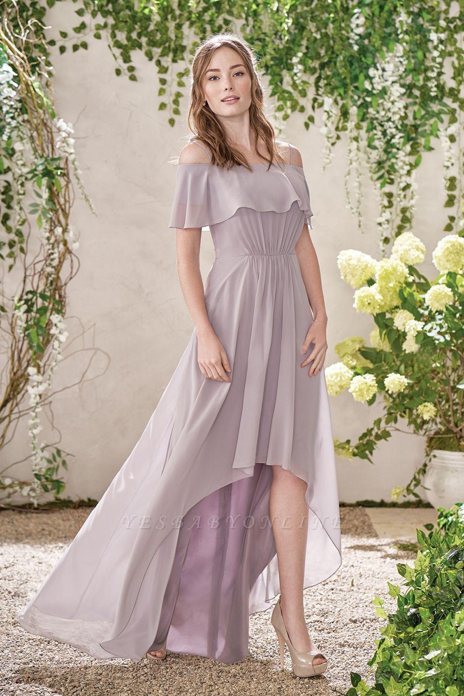 HI-Lo Jewel Short Sleeves Floor Length Bridesmaid Dresses | Cheap Maid of Honor Dresses