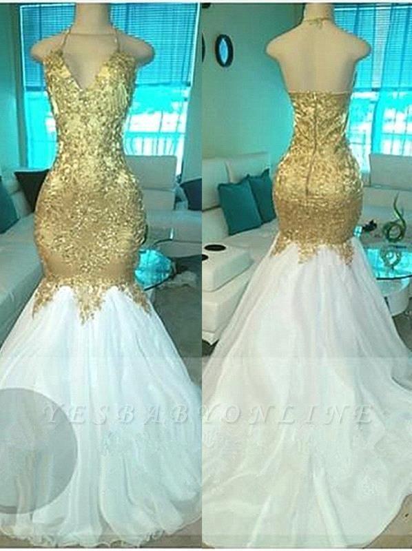 Sexy Beading V-neck Gold Mermaid Open-Back Prom Dresses