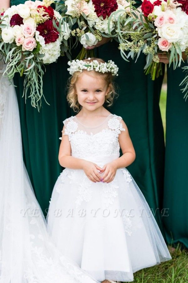 Elegant Jewel Sleeveless Lace Applique Flower Girl Dresses | Wedding Dress for Girls