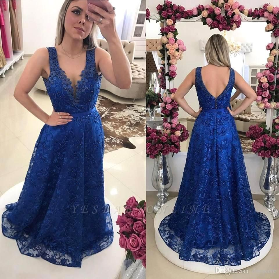 Royal-Blue Lace A-line Pearls V-Neck Prom Dresses