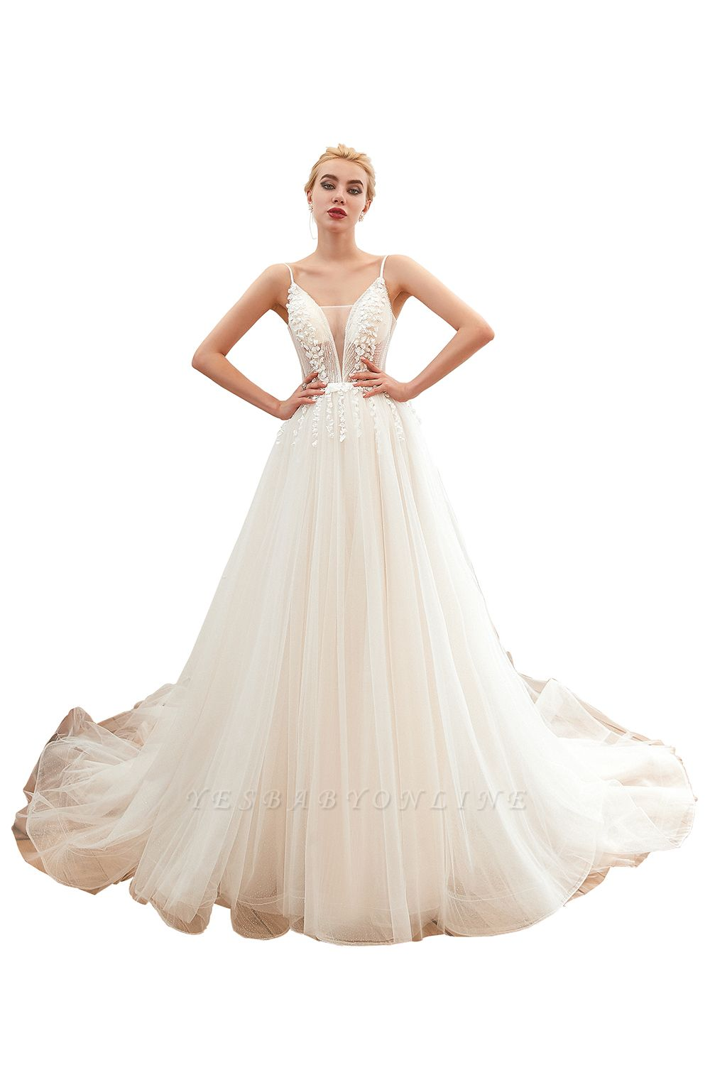 Elegant Spaghetti Straps Lace Up A-line Floor Length Lace Tulle Wedding Dresses