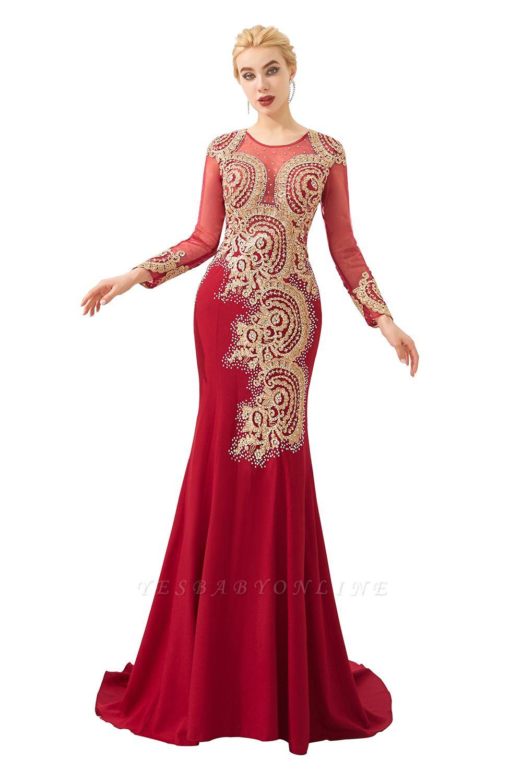 Gorgeous Form-fitting Long Sleeves Floor Length Prom Dresses | Long Beaded Evening Dresses