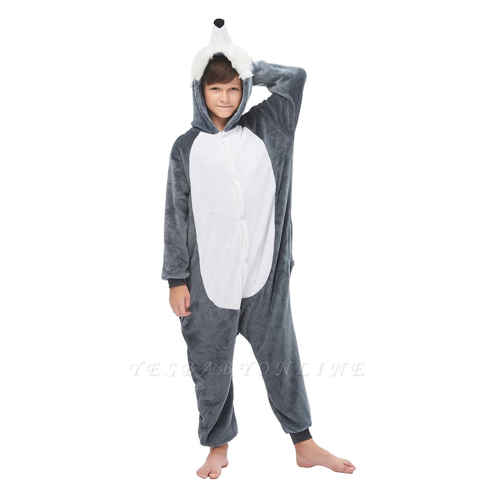 Cute Animal Pyjamas for Boys Huskie Onesie, Dark Grey