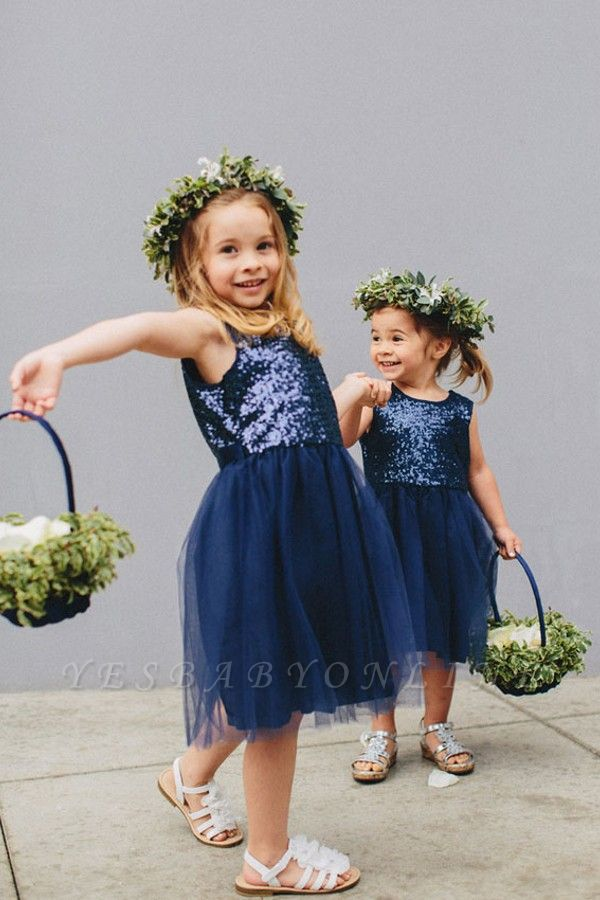 Lovely Blue Short Sequined Flower Girl Dresses