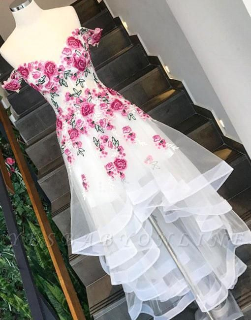 Chic White Flowers Prom Dresses Off-the-Shoulder High Low Layers Party Dresses