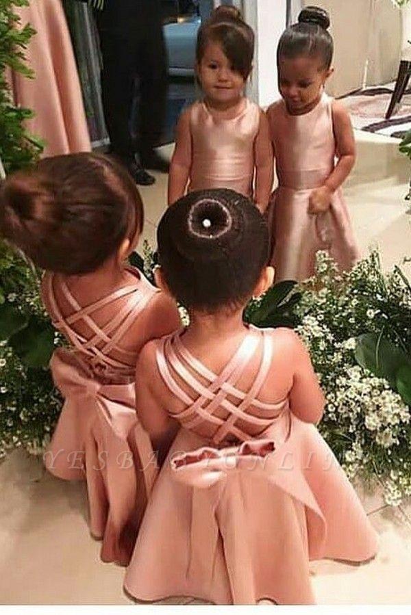 Elegant Jewel Floor Length Criss-Cross Straps Flower Girl Dresses with Bowknot