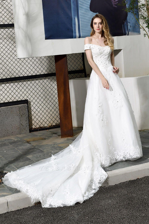 Gorgeous A-Line Lace Off Shoulder Floow Length Wedding Dresses