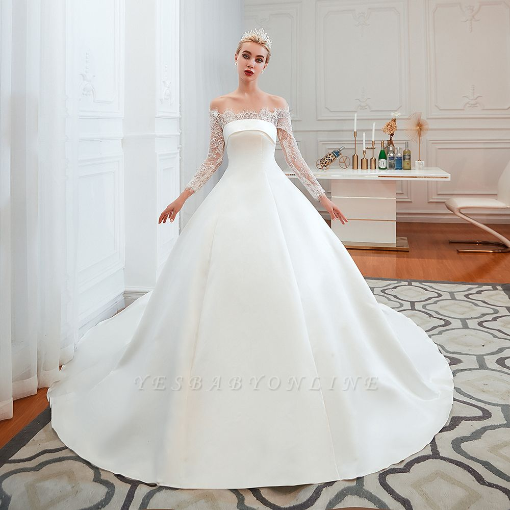 Off the Shoulder Long Sleeves Lace Up Floor Length A-line Lace Wedding Dresses