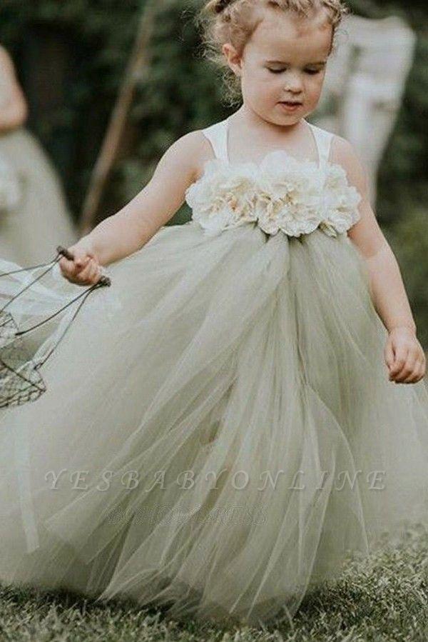 Lovely Straps Ball Gown Tulle Flower Girl Dresses with handmade Flowers