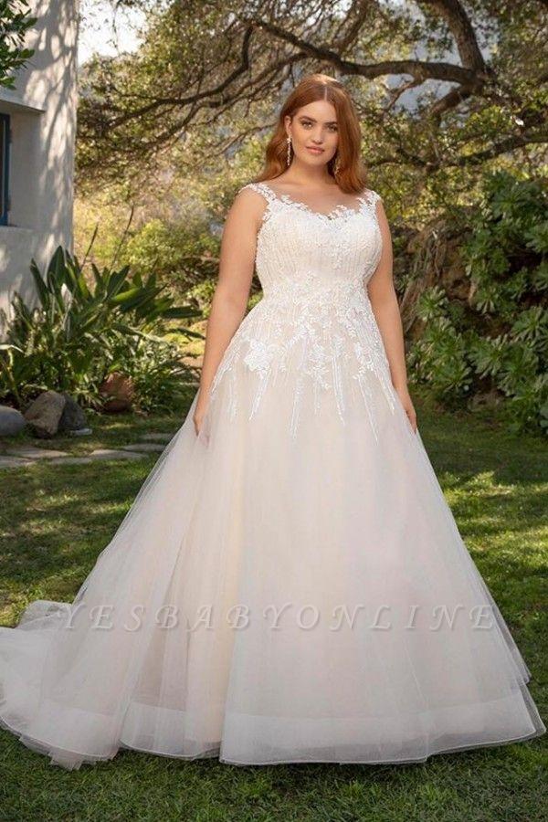 Straps Floor Length A-line Lace Tulle Wedding Dresses | Plus Size Bridal Gown
