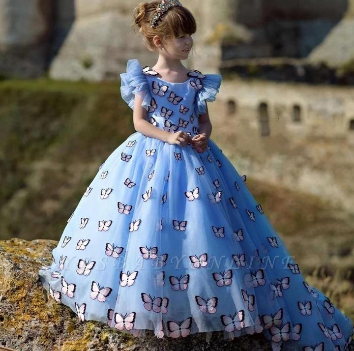 Jewel Cap Flounce Sleeves Puffy Flower Girl Dresses with Handmade Butterflies