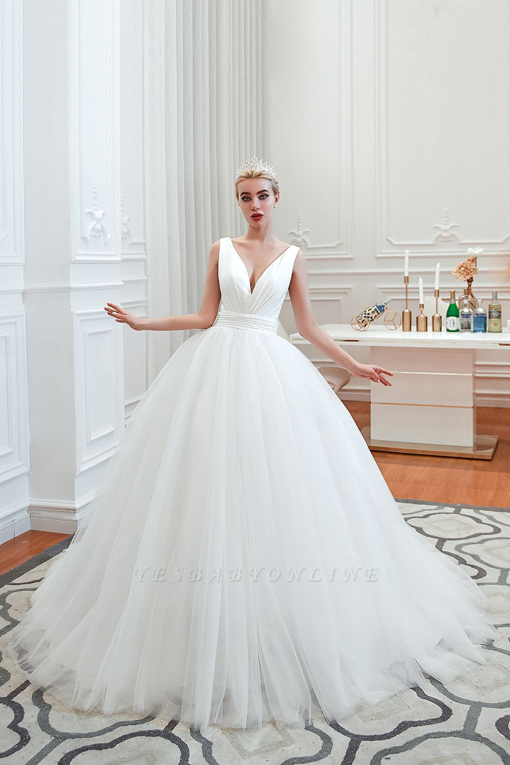 Elegant Floor Length V-neck Straps Belted A-line Tulle Wedding Dresses