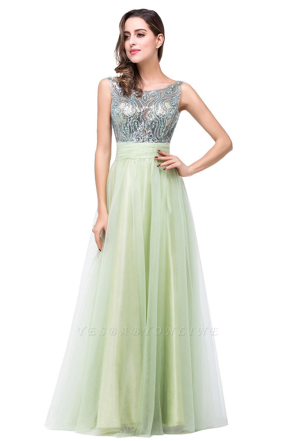 Scoop-Neckline Long Crystal A-line Charming Sleevless  Prom-Dress
