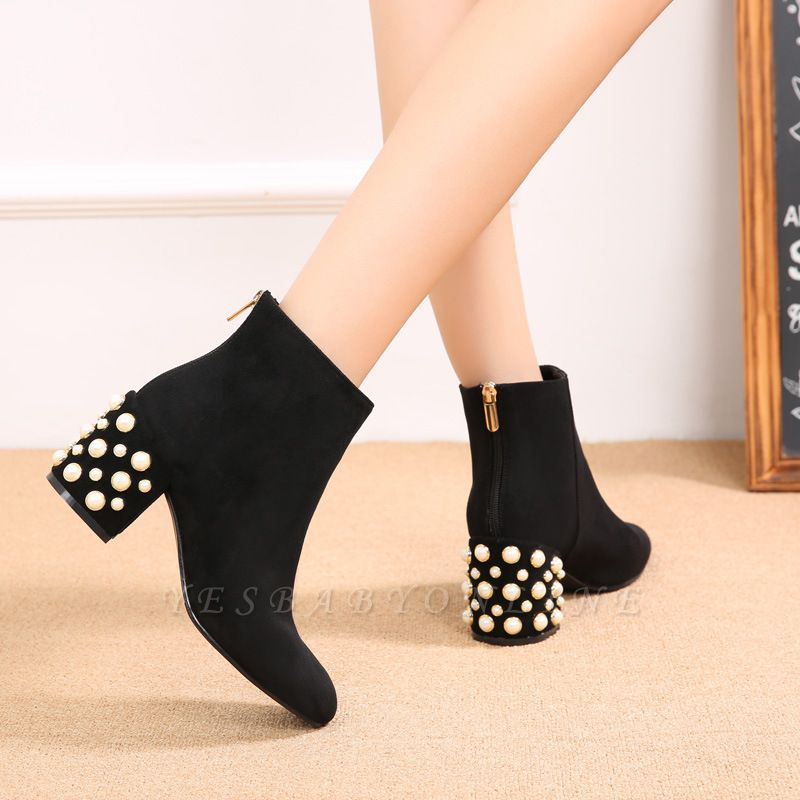 Suede Winter Chunky Heel Beading Pointed Boots On Sale