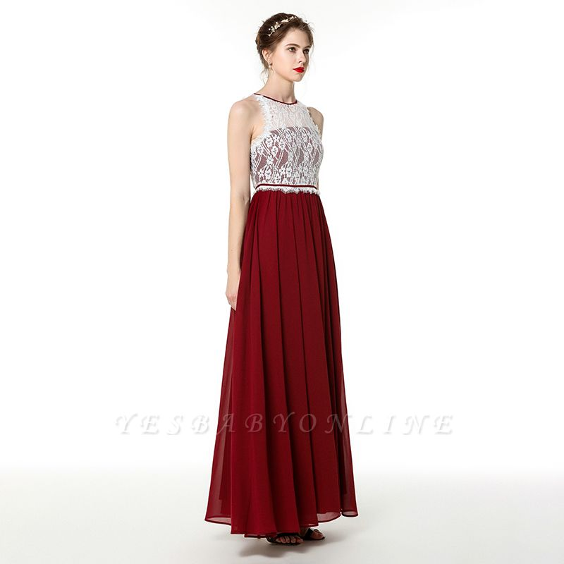 Jewel Sleeveless Long Chiffon Lace Prom Dresses | Floor Length Evening Dresses
