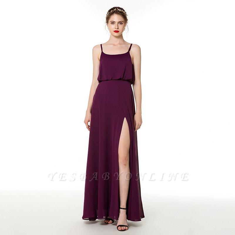 Spaghetti Straps Front Slit Long Chiffon Prom Dresses | Floor Length Evening Dresses Online