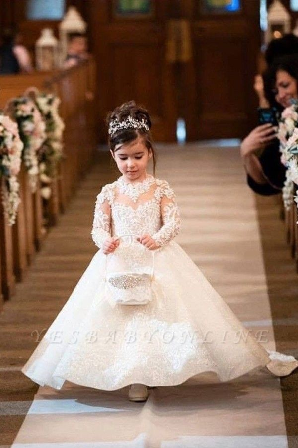 Princess A-line Sweep Train Lace Flower Girl Dresses with Long Sleeves