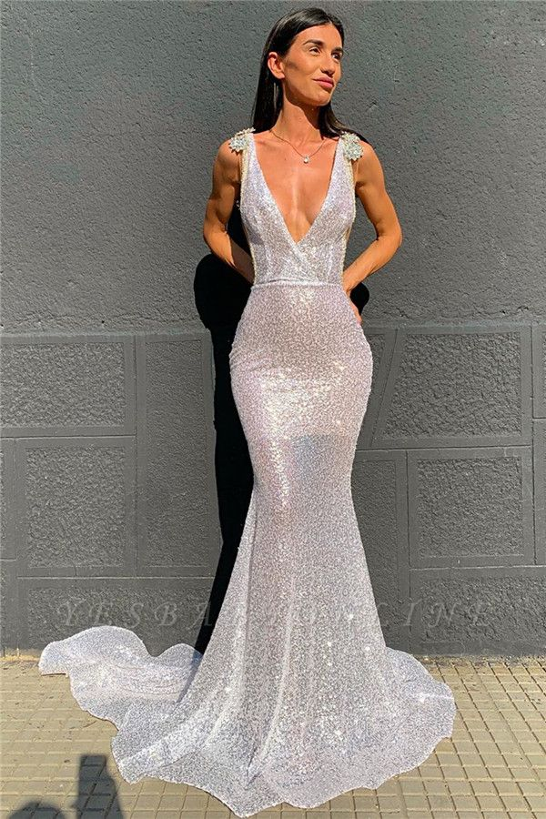 Deep V-neck Sparkling Sequined Sexy Prom Dresses | Stunning Backless Mermaid Evening Dresses