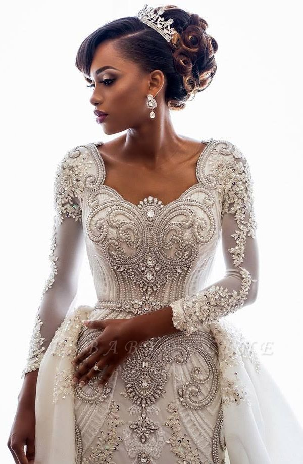 Luxury Lace Appliques Mermaid Wedding Dresses  | Beads Long Sleeve Gorgeous Bridal Gowns