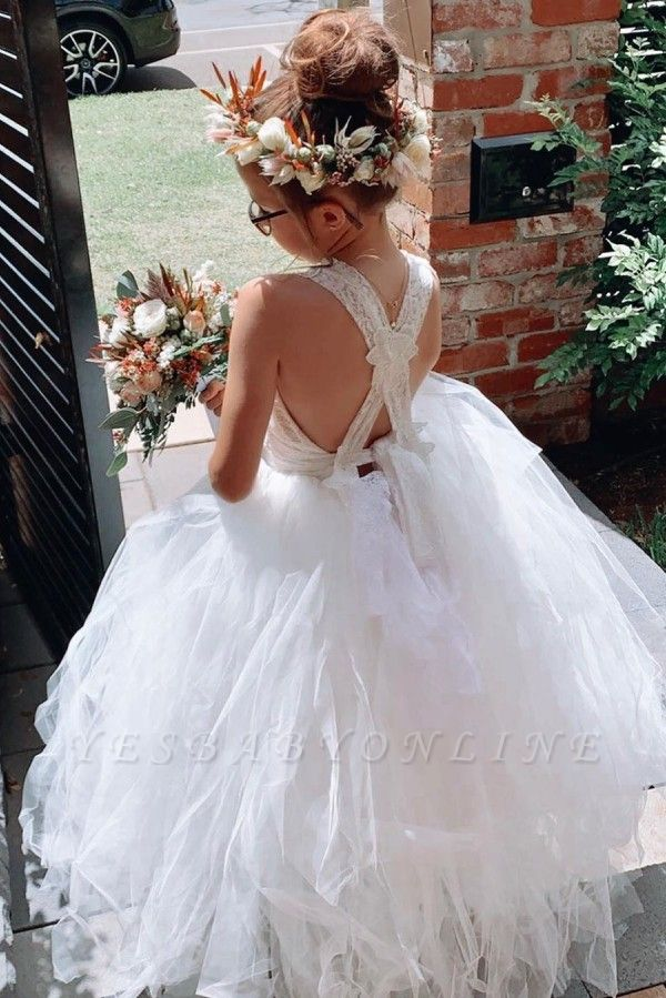 Criss-cross Straps Tiered Tulle Lace Flower Girl Dresses | Kids Dresses for Wedding
