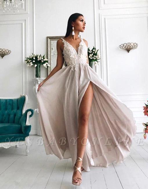 Sexy V-Neck Evening Gowns   Appliques Side Slit Formal Dresses