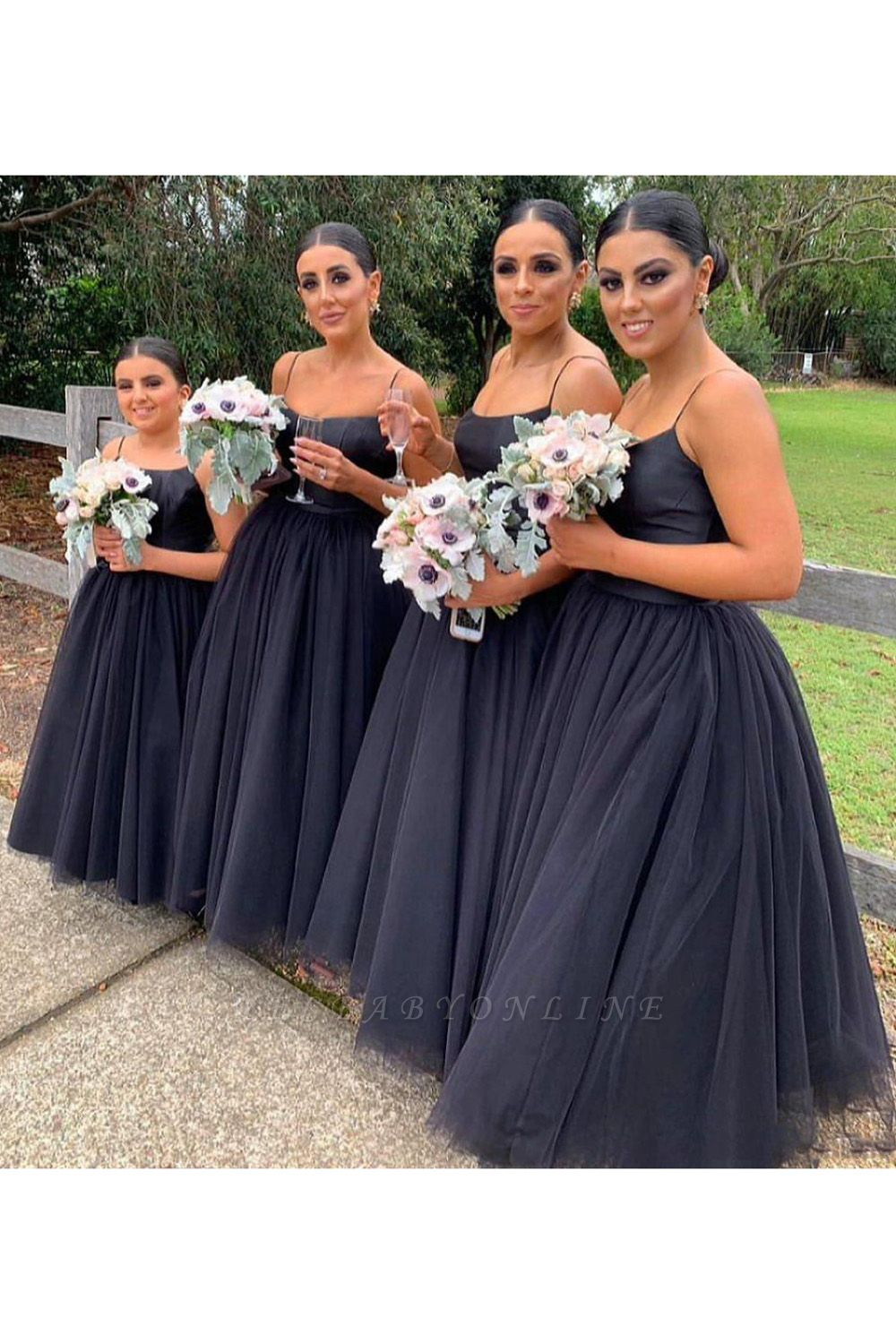 Spaghetti Straps Floor Length Sexy Tulle Bridesmaid Dresses   Cheap Wedding Guest Dresses