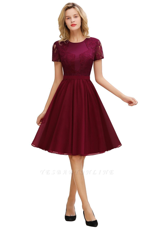 Jewel Kee Length Short Sleeves Lace Bridesmaid Dresses   Burgundy Wedding Gues Dresses