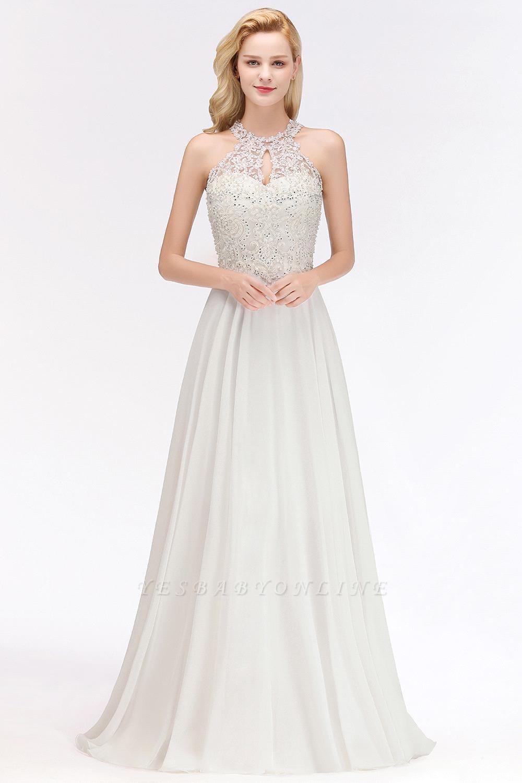 Halter Full Back Applique Beaded Pearls Chiffon A Line Prom Dresses