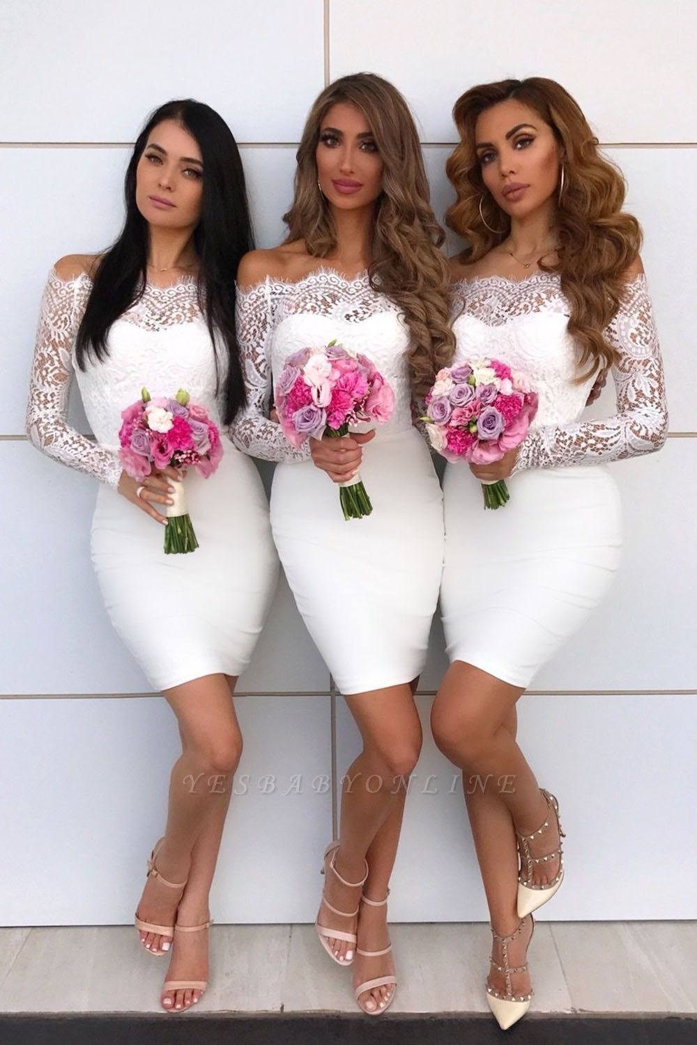 Knee Length Off the Shoulder Long Sleeves Lace Sexy Mermaid Bridesmaid Dresses  | Affordable Maid of Honor Dresses
