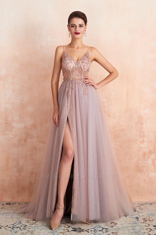 Spaghetti Straps V-neck Sheer Top Sexy Long Prom Dresses with Side Slit | Elegant Tulle Evening Dresses