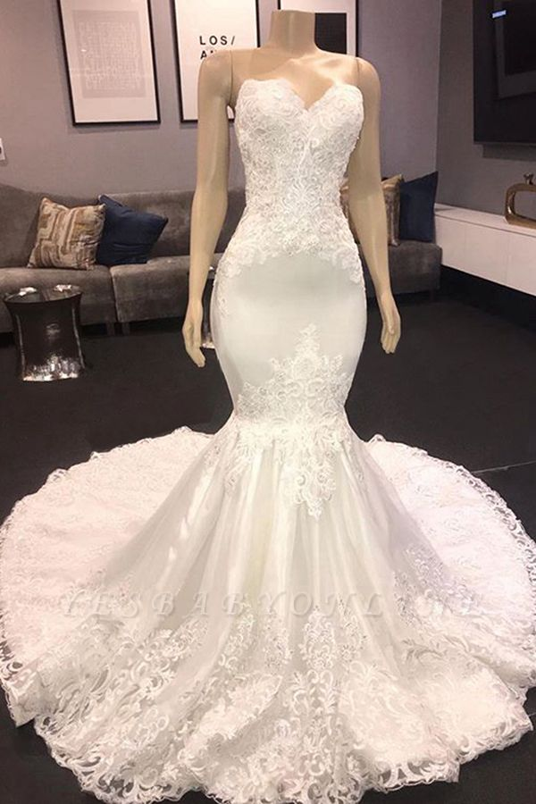 Sweetheart  Mermaid Sexy Lace Wedding Dresses | Fit-and-Flare Bridal Gowns
