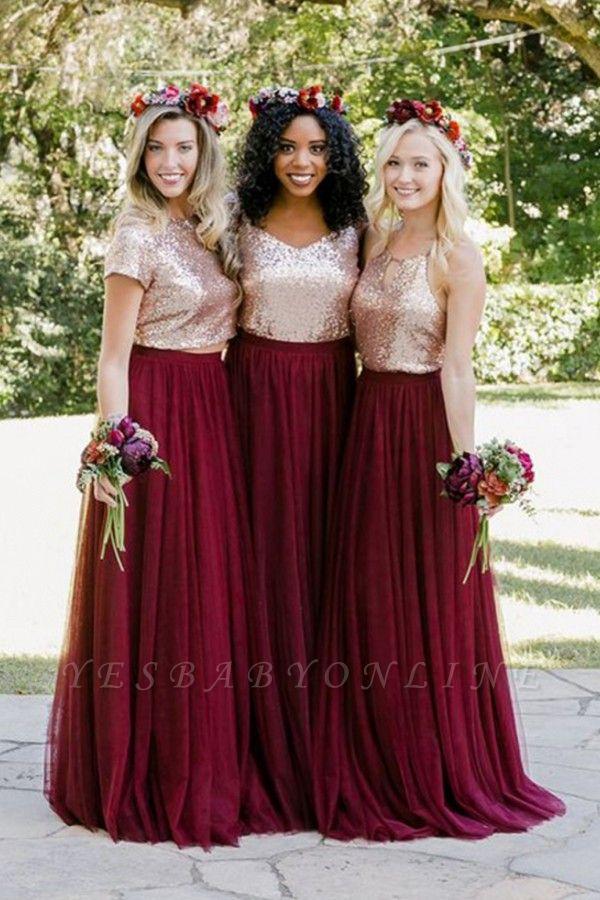 Burgundy Bridesmaid Dresses | Long Sequin Chiffon Maid of Honor Dresses