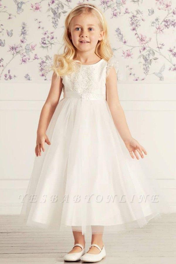 Jewel Cap Sleeves Tea Length Ribbon Belt Lace Tulle Flower Girl Dresses