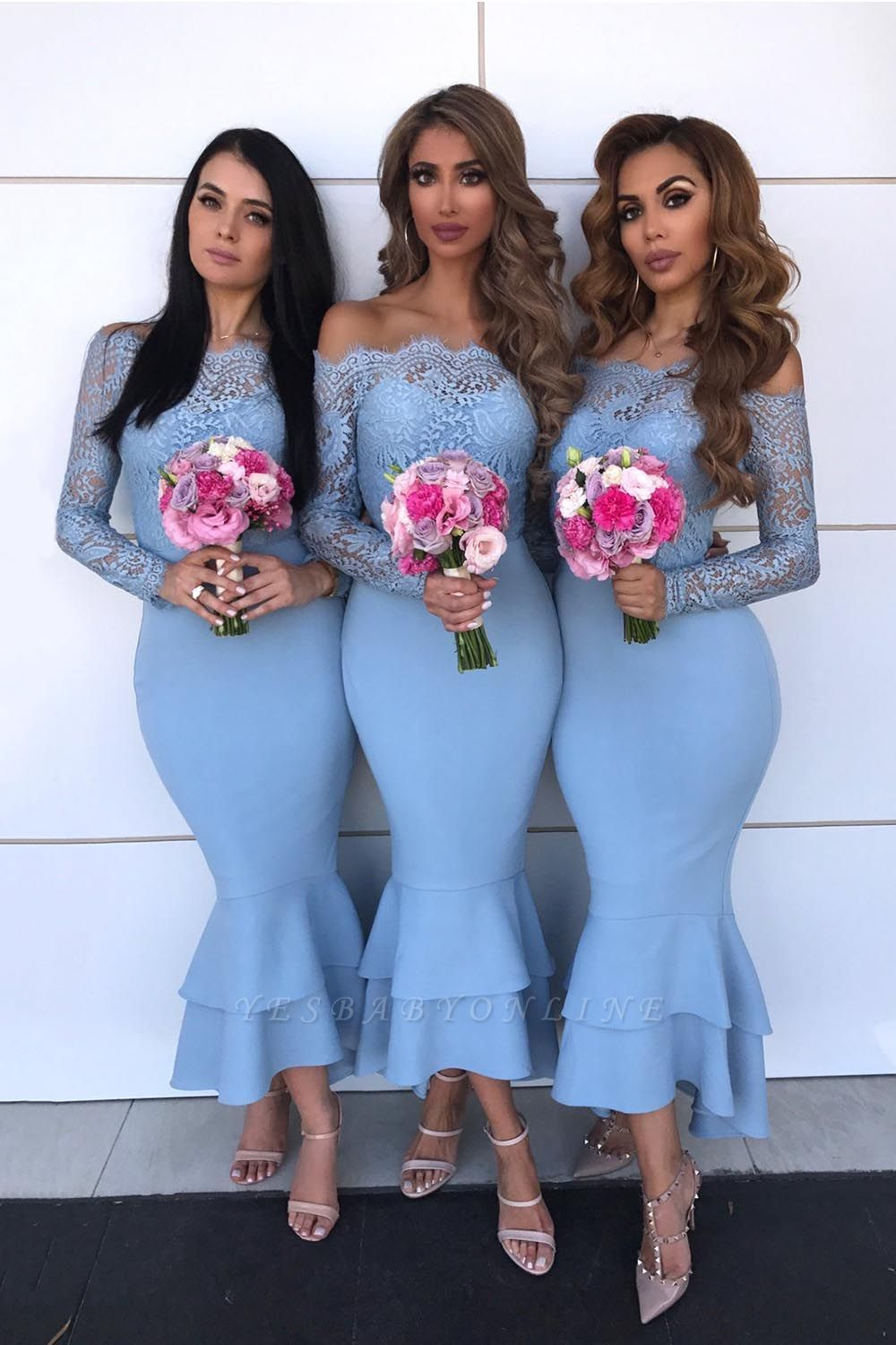 Long Sleeves Tea Length Lace Mermaid Sexy Bridesmaid Dresses  | Affordable Maid of Honor Dresses