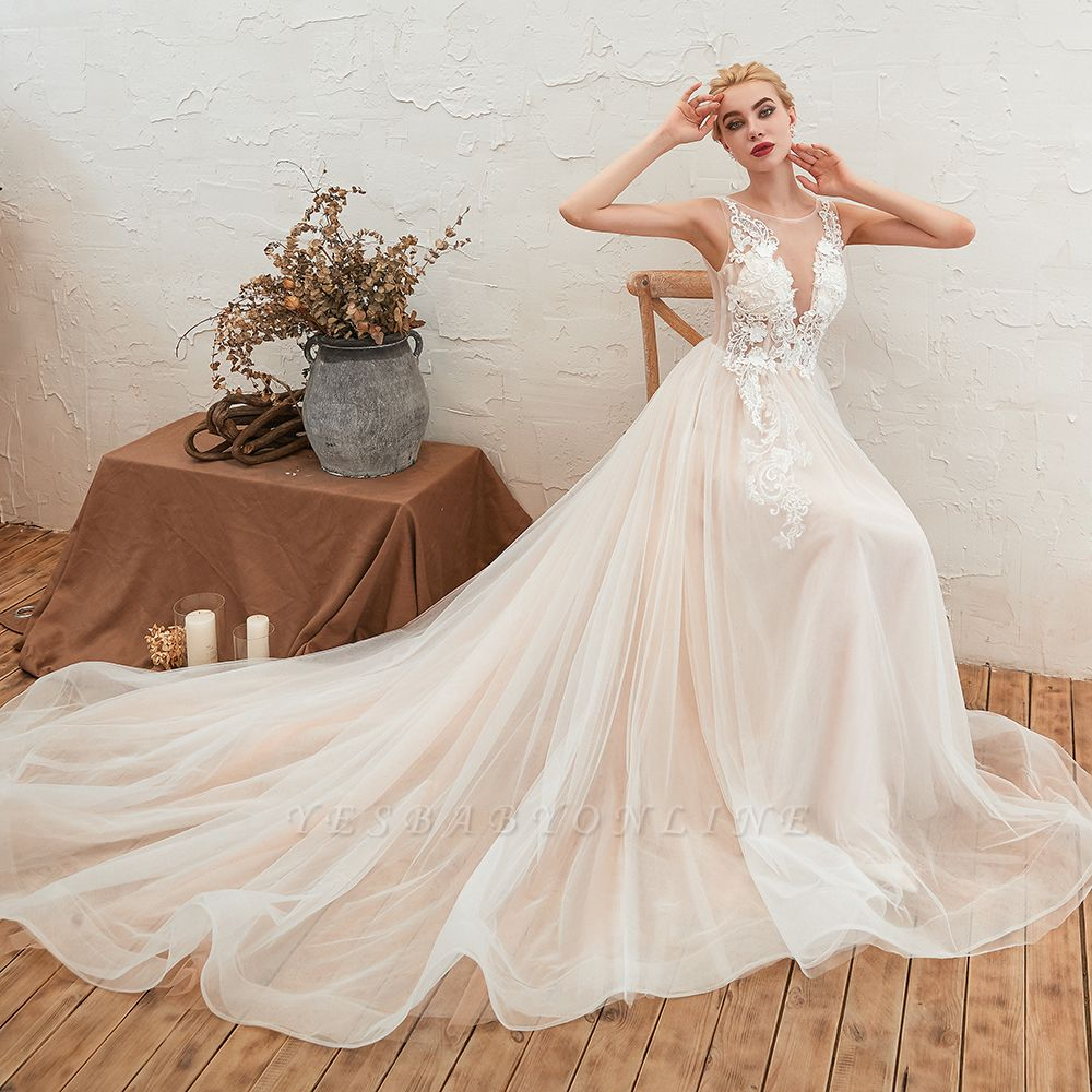 Round Neckline Sleeveless A-line Lace Up Sweep Train Lace Appliques Wedding Dresses
